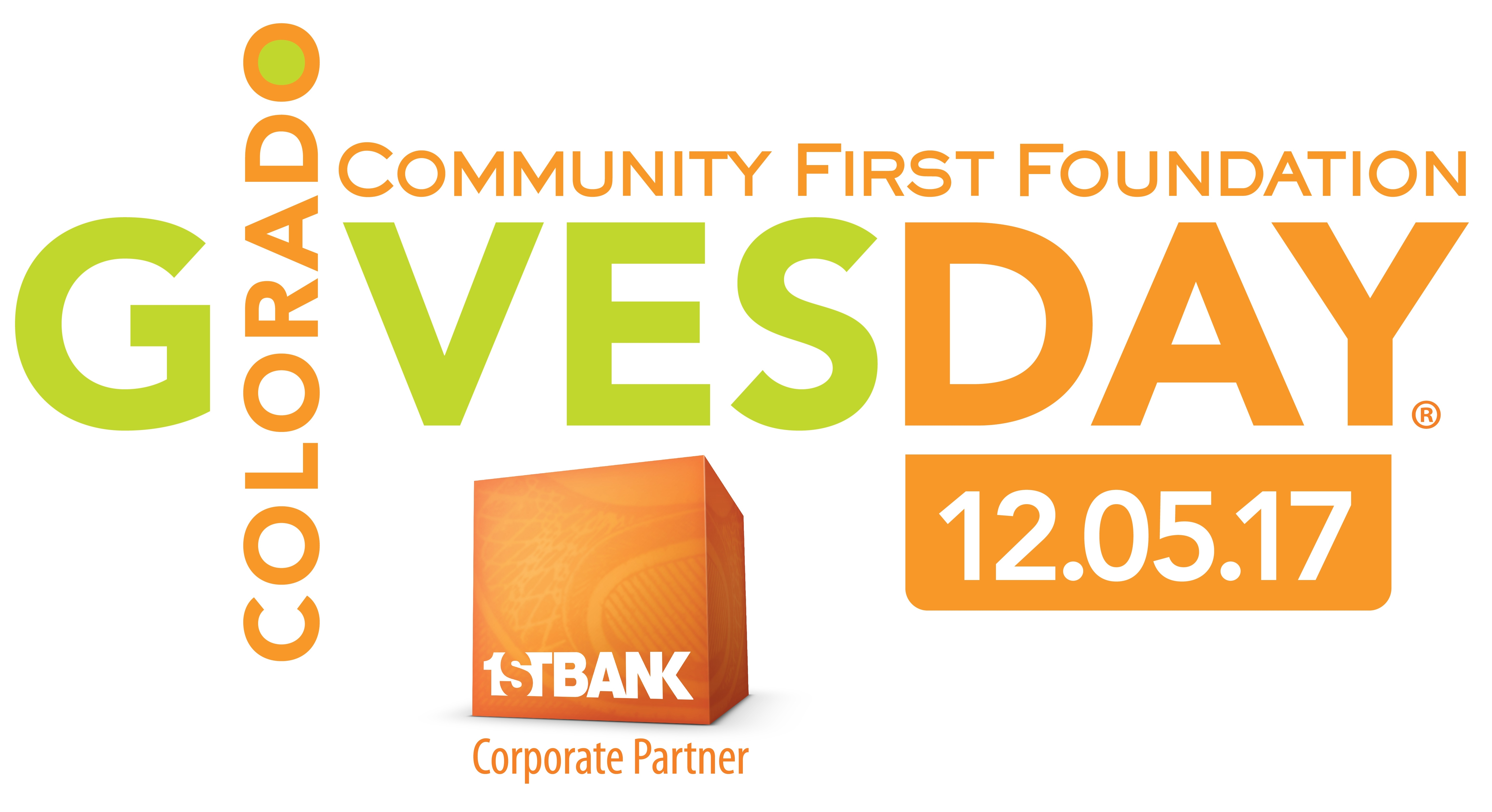 Colorado Gives Logo, First Bank logo, Community First Foundation, Colorado Gives day 12.05.17 Donate now through Colorado Gives.